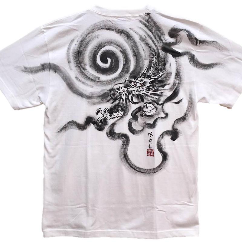 【手描きTシャツ】龍1 白 コットン生地