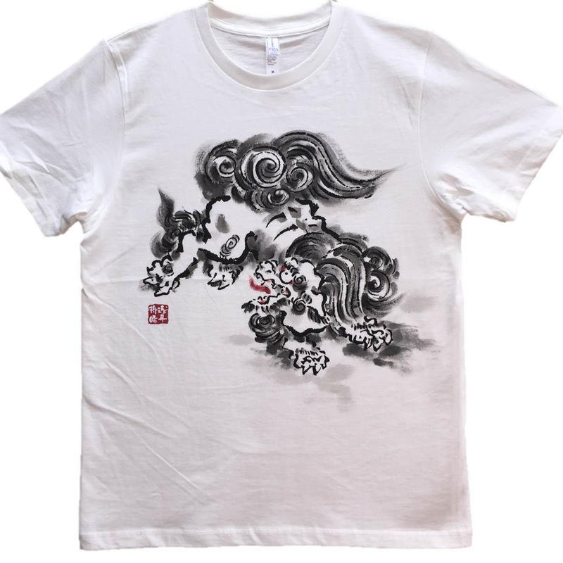 【手描きTシャツ】とび獅子 白 コットン生地
