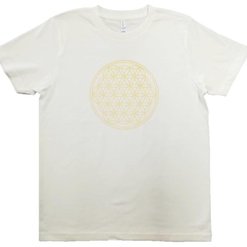 【Tシャツ】フラワー・オブ・ライフ1 コットン生地 姫川薬石インク100% 白