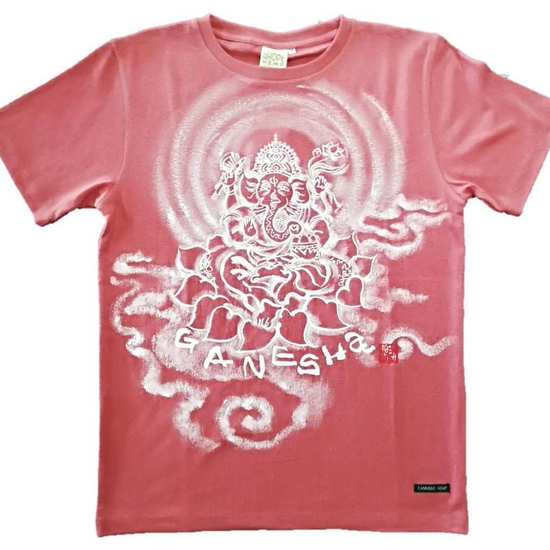 【手描きTシャツ】ガネーシャ イラスト前面  レッド  麻生地