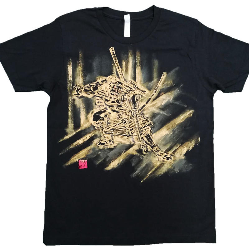 【手描きTシャツ】朝比奈門破り 黒 コットン生地