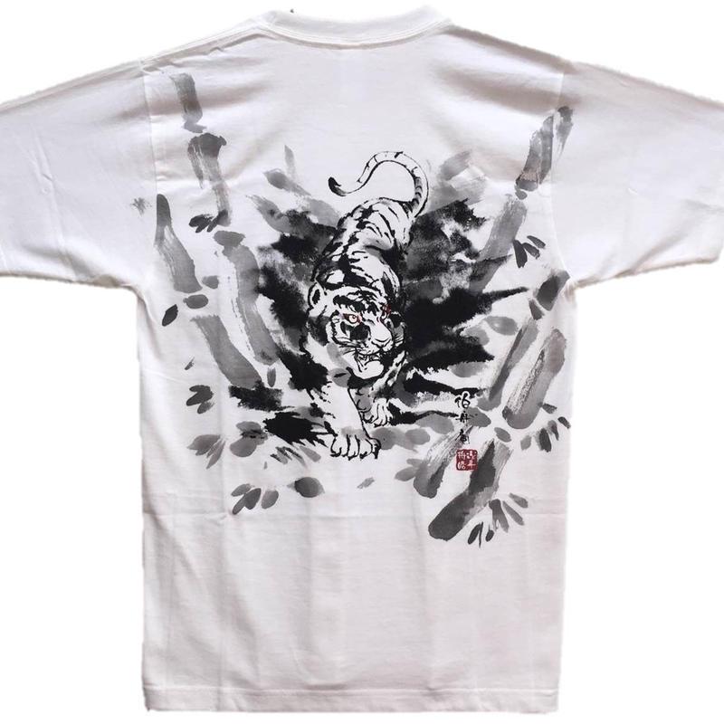 【手描きTシャツ】竹虎 白 コットン生地