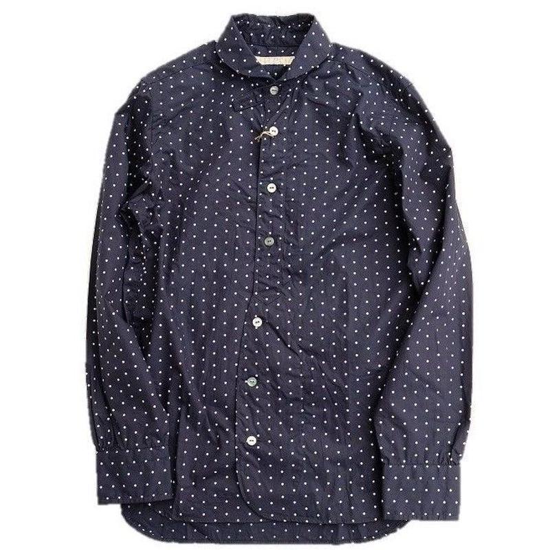HAVERSACK(ハバーサック)   ドットプリントシャツ   NAVY