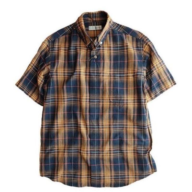 nisica(ニシカ)  ボタンダウンシャツ  半袖   NAVYチェック