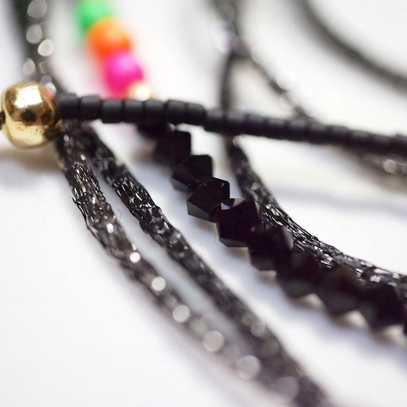 Long Multi Color Swarovski / ロングマルチカラースワロフスキー [ Black × Black ]
