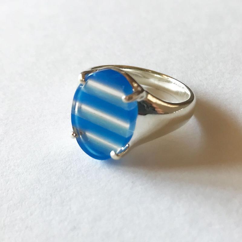 ブルーアゲート + 水晶 × シルバー 一点ものリング(サイズ:11号)