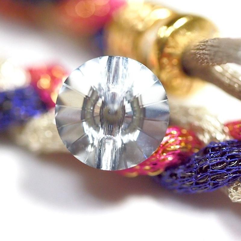 Luxury missanga A / ラジュアリーミサンガ A  [ StrongPink × White × Purple ]