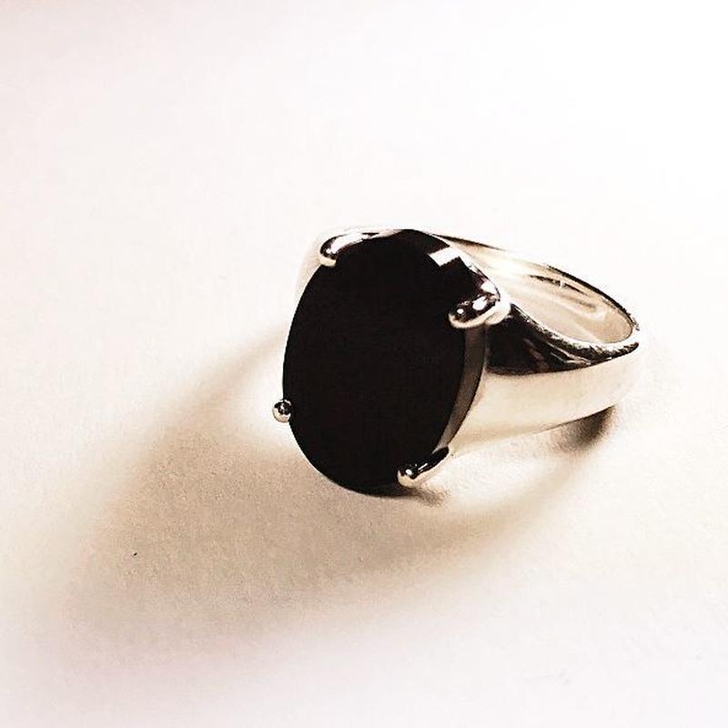 オニキス × シルバー 一点ものリング(サイズ:17号)