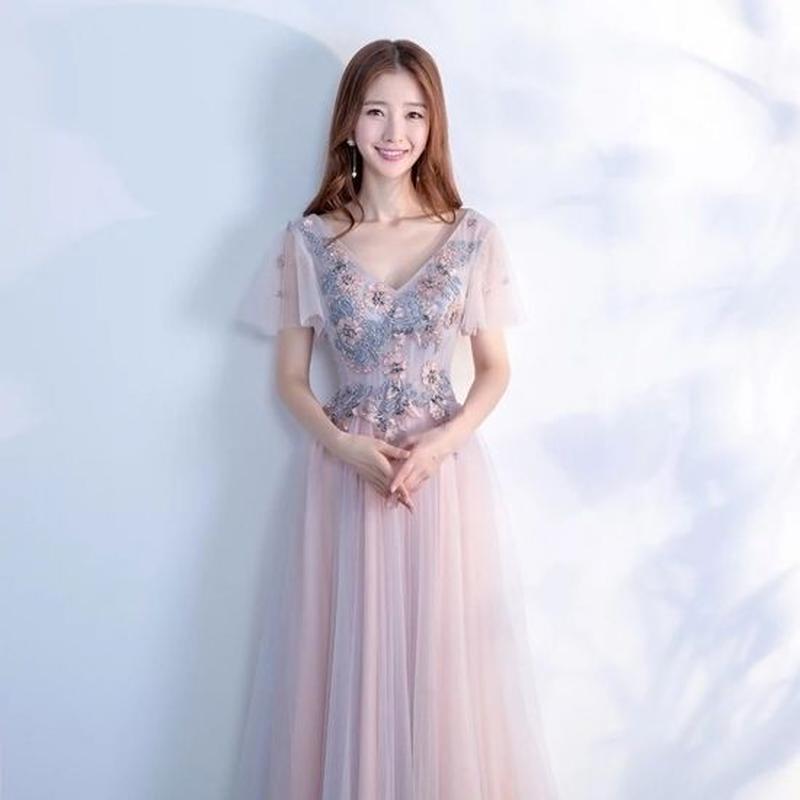 花柄 刺繍 Vネック 半袖 フレア袖 ロングドレス