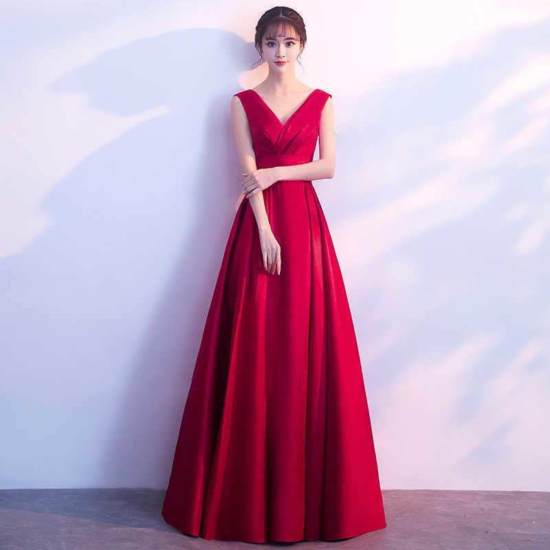 美しい シンプル Vネック ノースリーブ セクシー ロングドレス