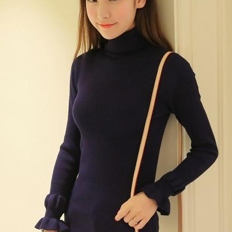 可愛い 暖かい 袖口フリル タートルネック ニット セーター