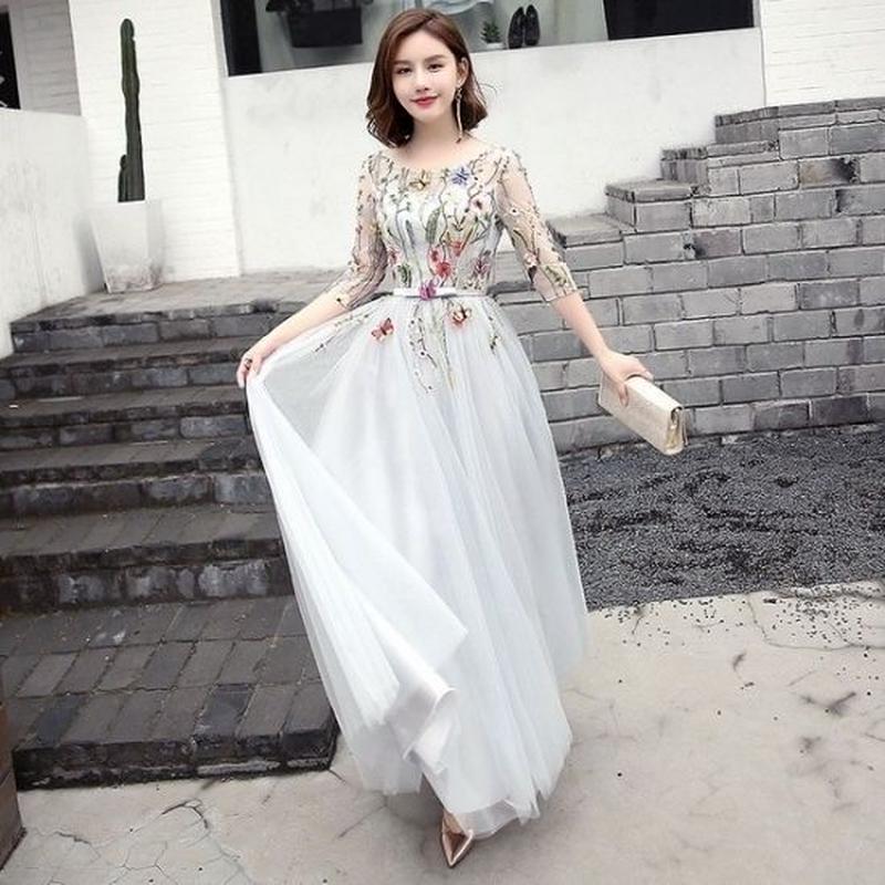 フラワー 刺繍 七分袖 フレア ロング ドレス