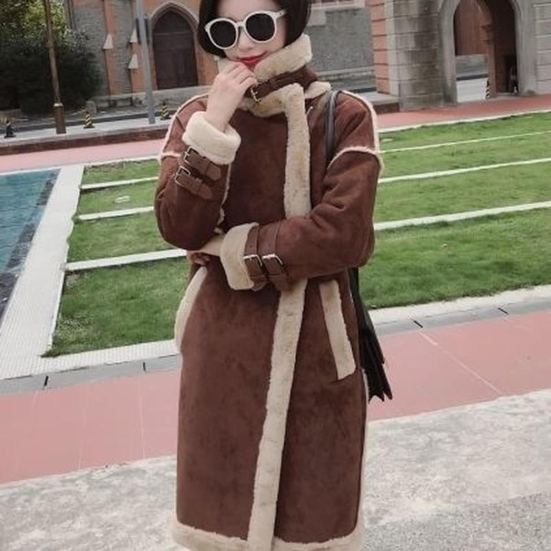 カジュアル もこもこ ダブルベルト ムスタン ロング コート