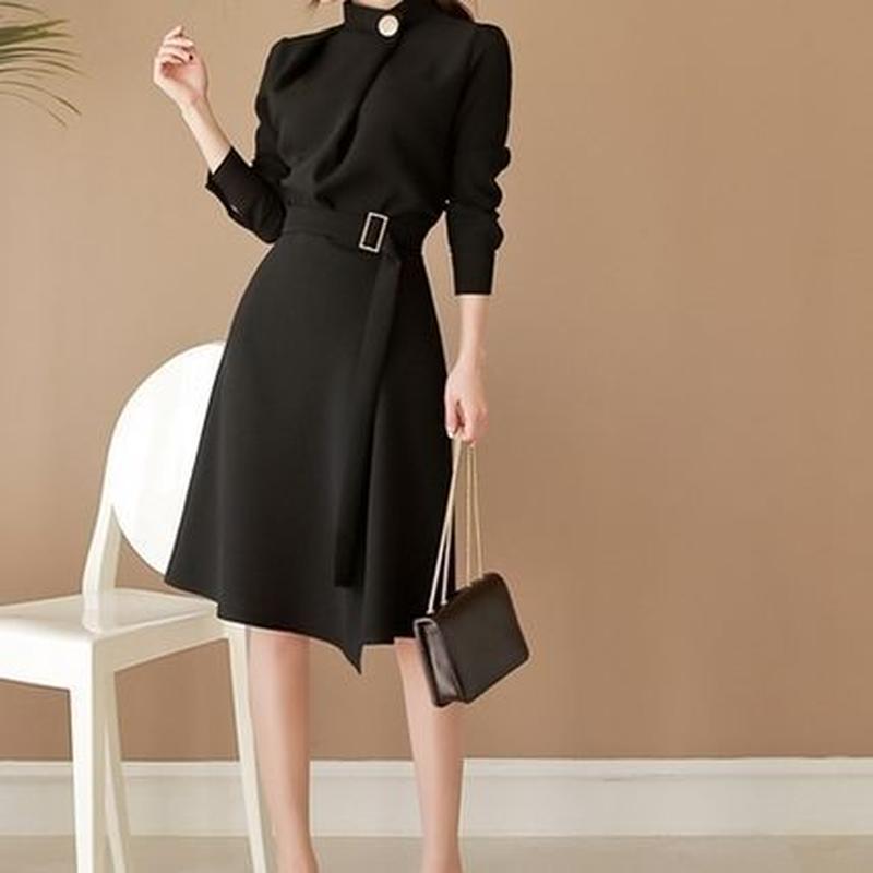 スタイルアップ フォーマル オフィス ベルト付き Aライン ドレス