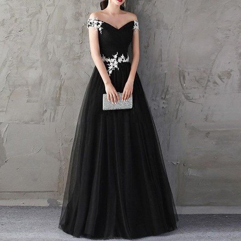 小花 セクシー オフショルダー ブラック ロング ドレス