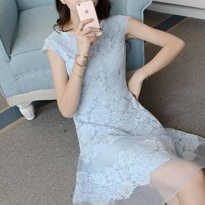 透け感 Aライン 花柄 刺繍 Vネック シフォン ドレス ワンピース