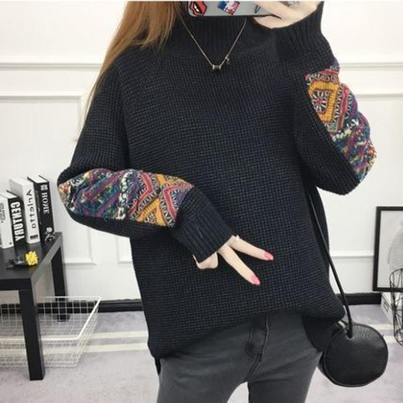 大人 暖かい エスニック ハイネック パッチワーク セーター