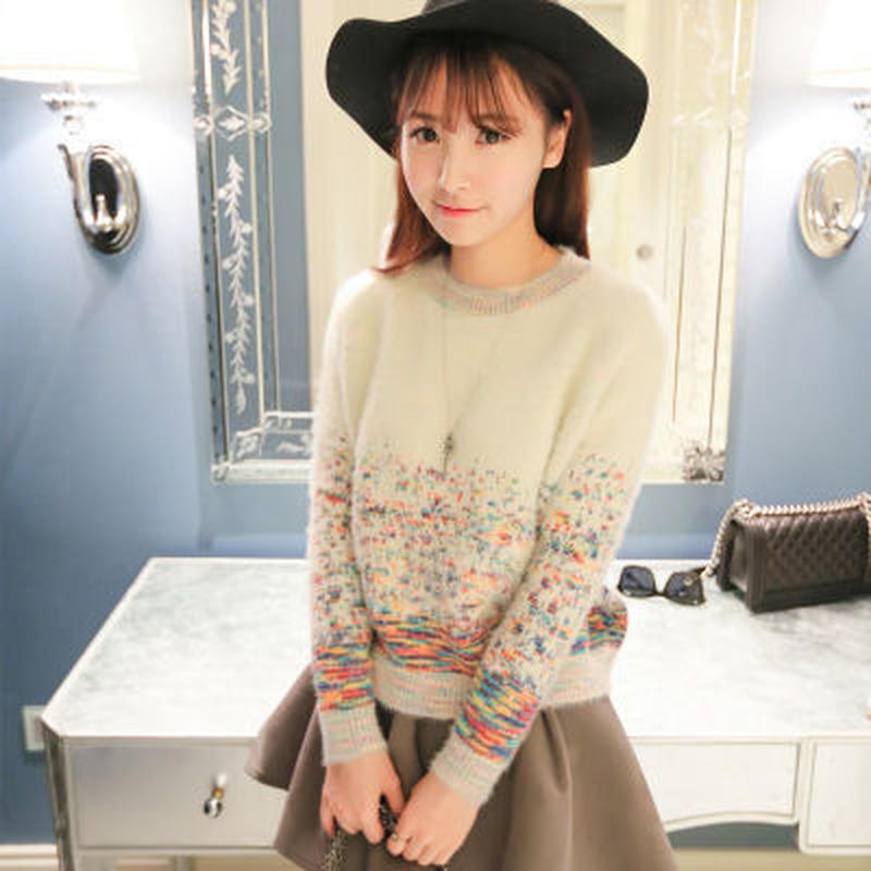 キュート ラウンドネック 花柄 長袖 ニット セーター