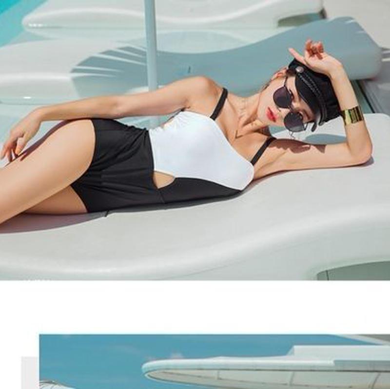 モノバイカラー ハイウエスト ビーチ リゾート ワンピース水着