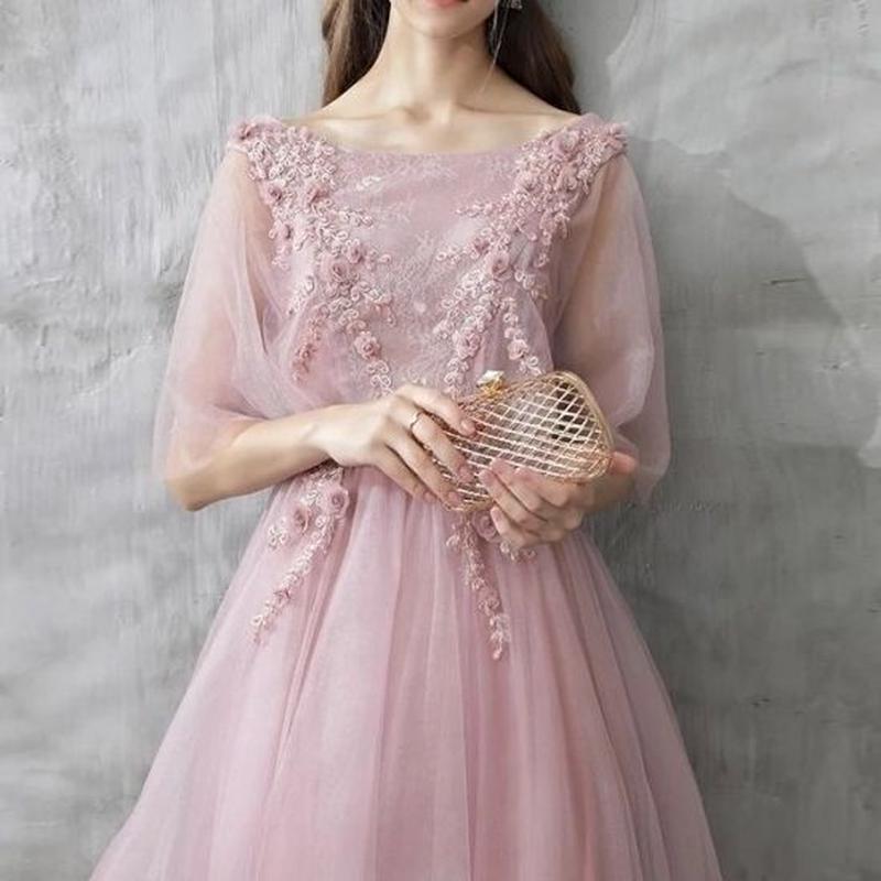 小花柄 フラワー 背中あき ロング ドレス