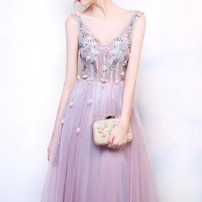 レースアップ バックコンシャス 刺繍 Vネック ロング ドレス