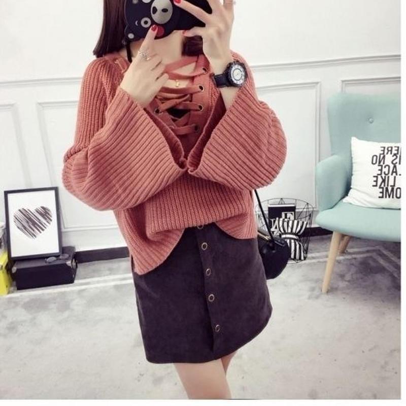 ゆったり 可愛い ガーリー 暖かい 編み上げ ニット セーター