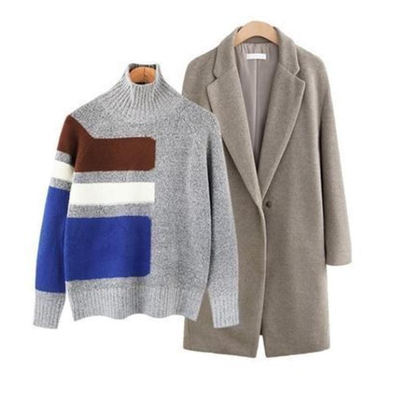 カジュアル 大人 長袖 カラーブロック タートル ニット セーター