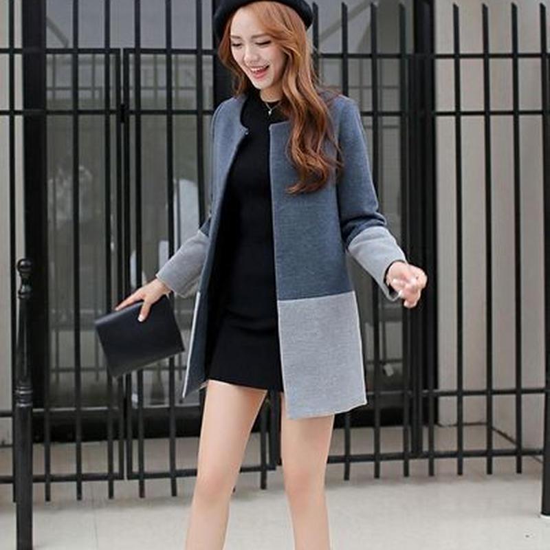可愛い 大人 シンプル スタイル バイカラー ツートン コート