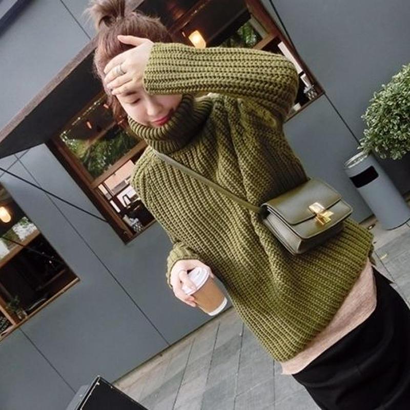 ビッグシルエット シンプル ゆったり 無地 タートル セーター
