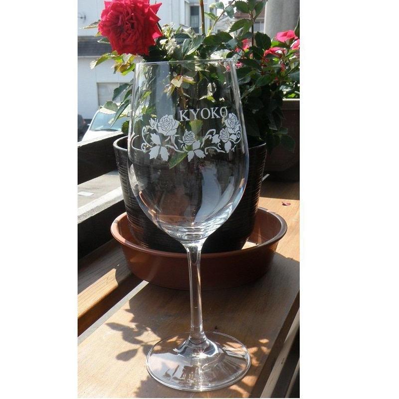 名前入りクリスタルワイングラス(彫刻込み)