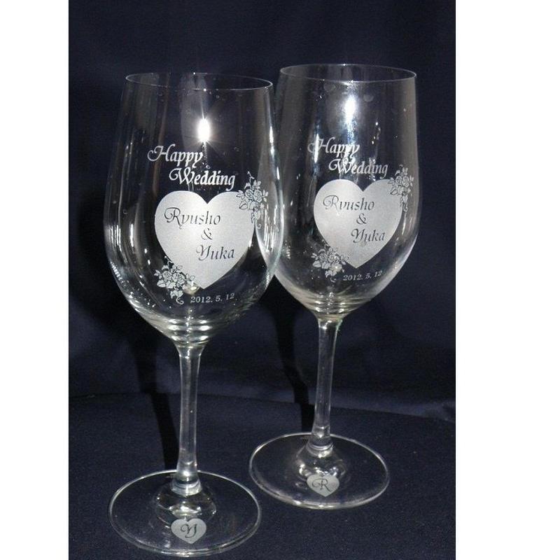 ブライダルプレゼント用ペア・クリスタルワイングラス(彫刻込み)