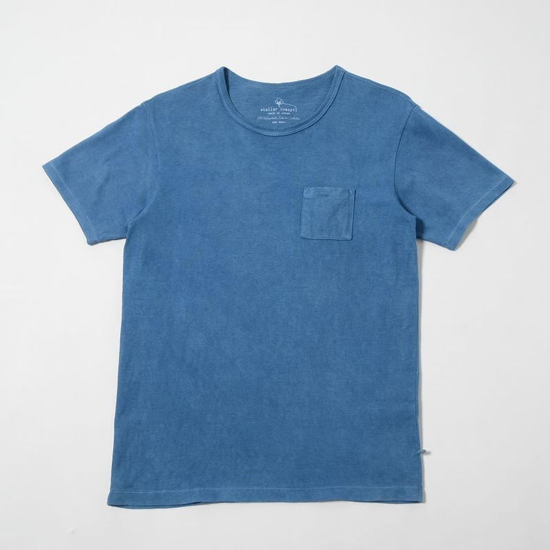 USAコットン16/-吊り編み天竺×自然建て琉球藍染めポケットTシャツ SORA