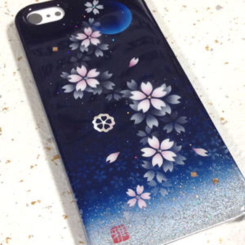 iPhone5/5Sケース 夜桜・三日月