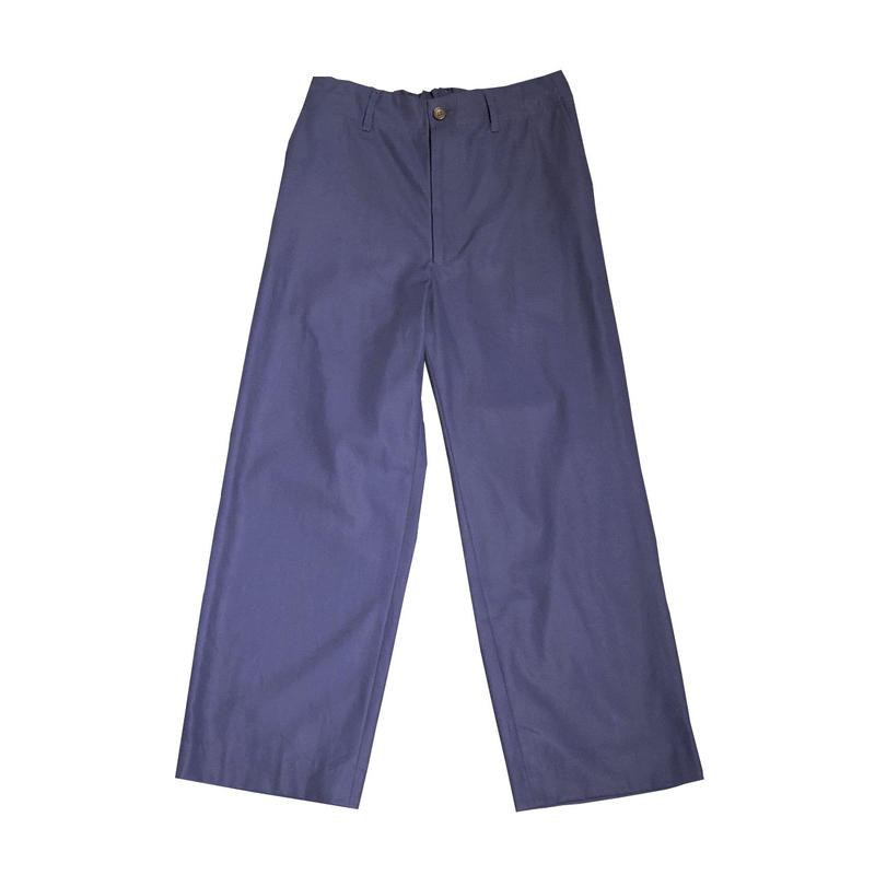 COTTON GABARDINE EASY WIDE TROUSERS