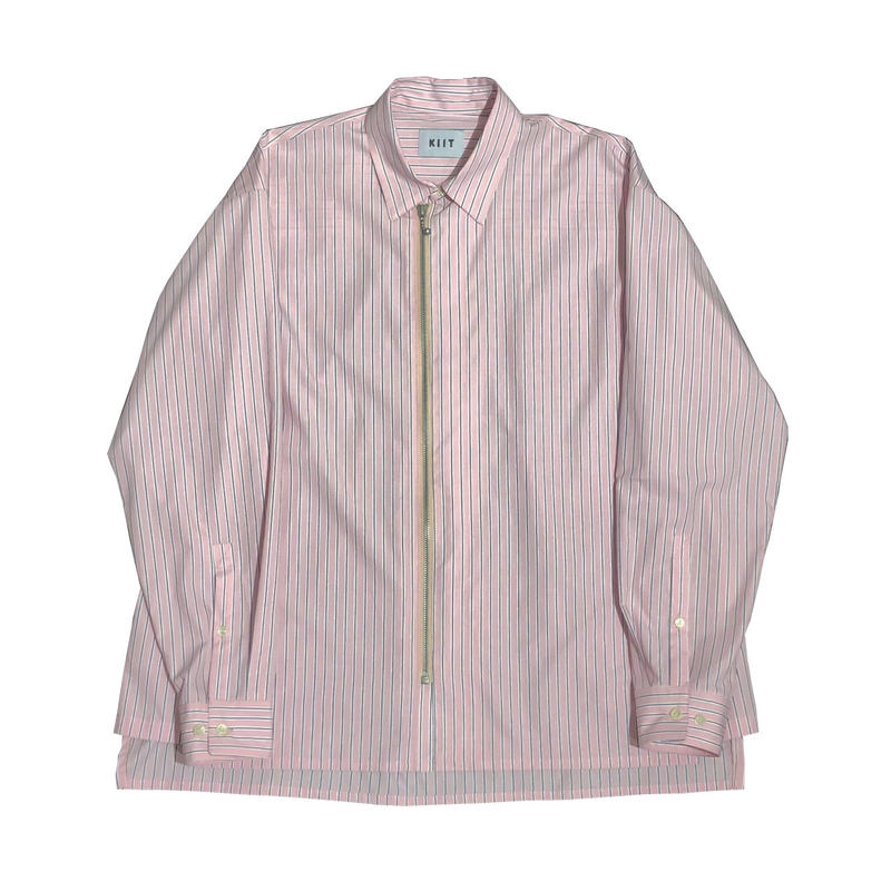 COTTON HIGH COUNT STRIPE ZIP UP SHIRTS