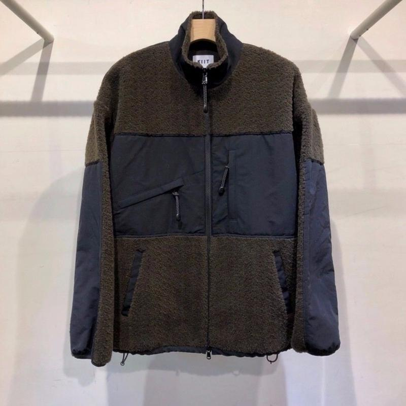 ACRYLIC / COTTON  BOA  PILE  ZIP  UP  COMBI  BLOUSON