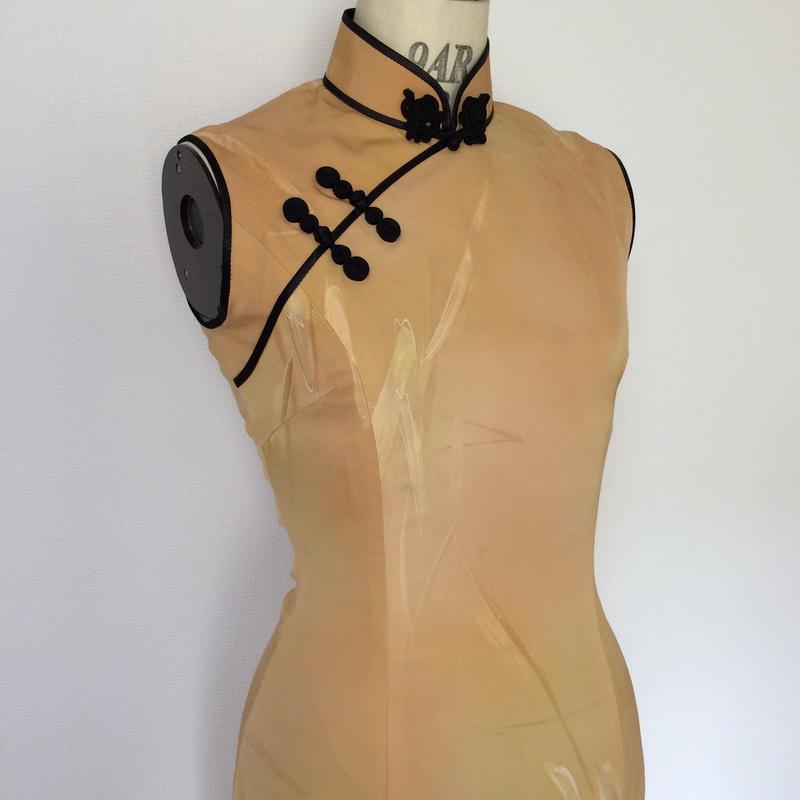 【値下げ】ノースリーブのチャイナ・マーメイド・ドレス(着物リメイク)