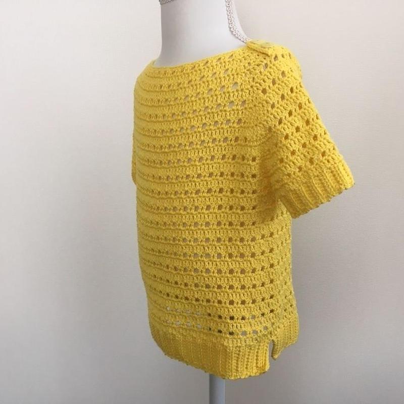 方眼編みで編む春夏用プルオーバー(90~100サイズ))