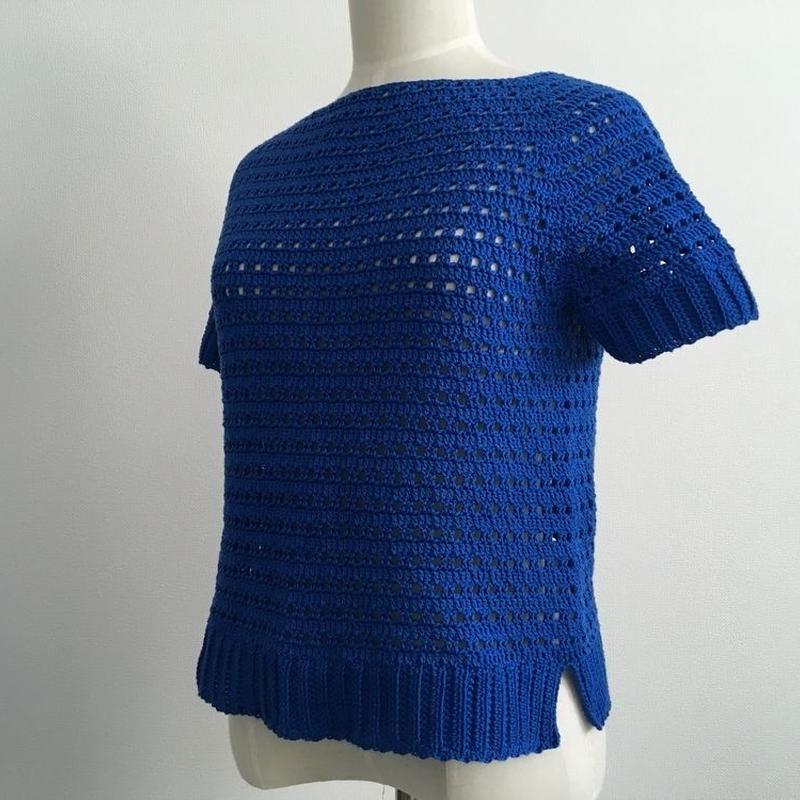 方眼編みで編む春夏用プルオーバー(キッズ用・140)