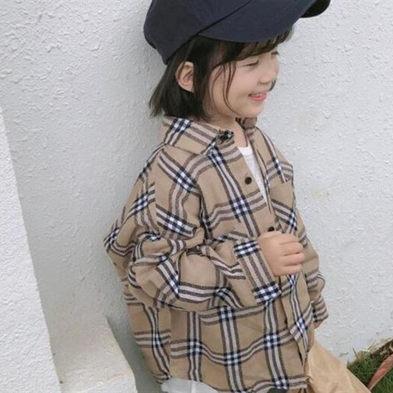 【kids】Check loose shirt