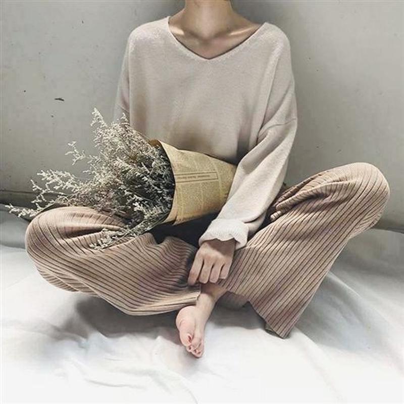 【ladies】rib knit pants