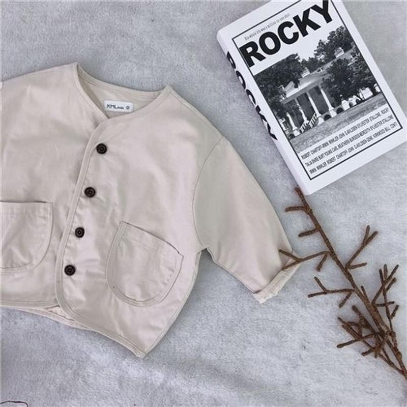 【kids】Cotton no collar jacket