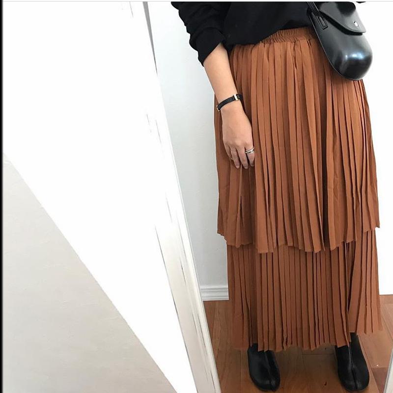 【ladies】Pleats  tiered  skirt