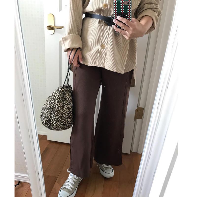 【ladies】slit knit pants