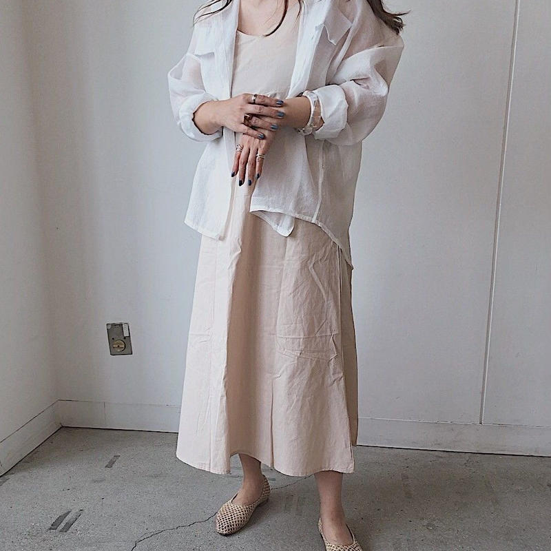 Linen like A-line one-piece