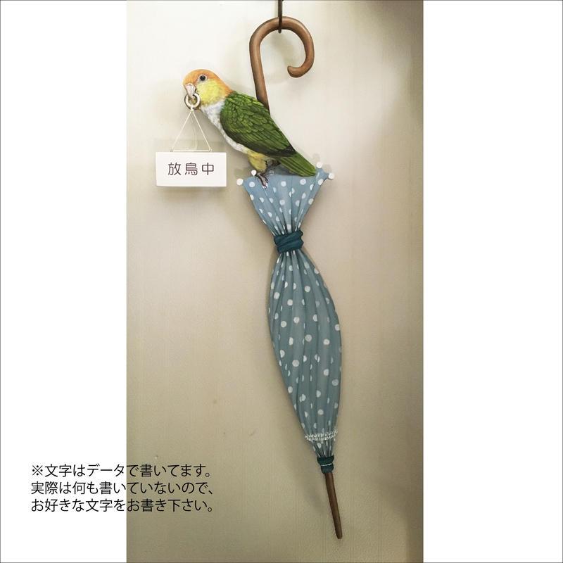 シロハラインコ 傘-飾りボード(ドアノブプレート)