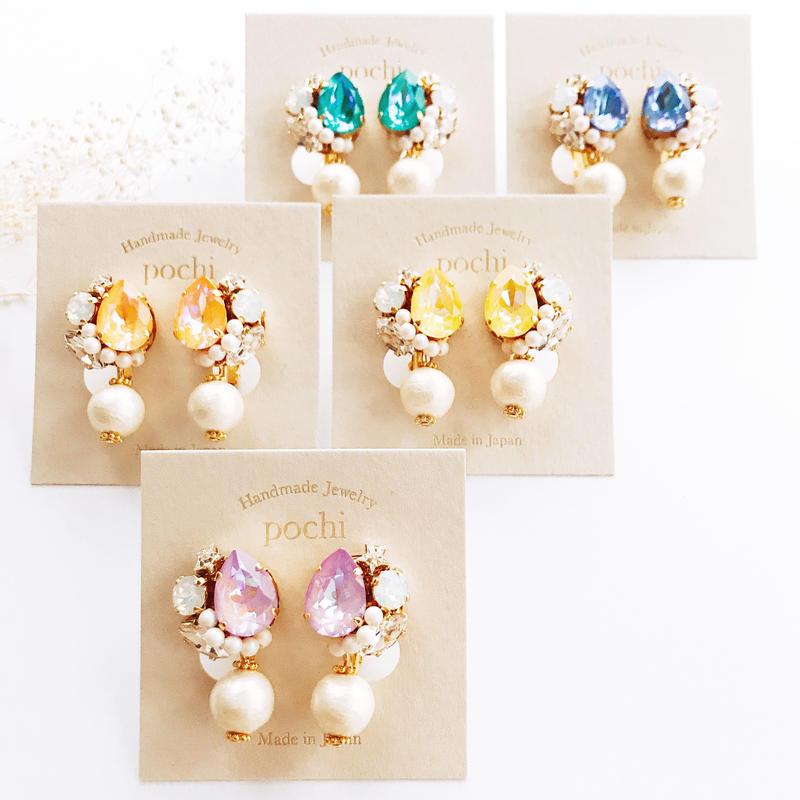 ★2020 S/S  New Color★SWAROVSKI®・Crystals Bijoux Pierce - Drop×Pearl-
