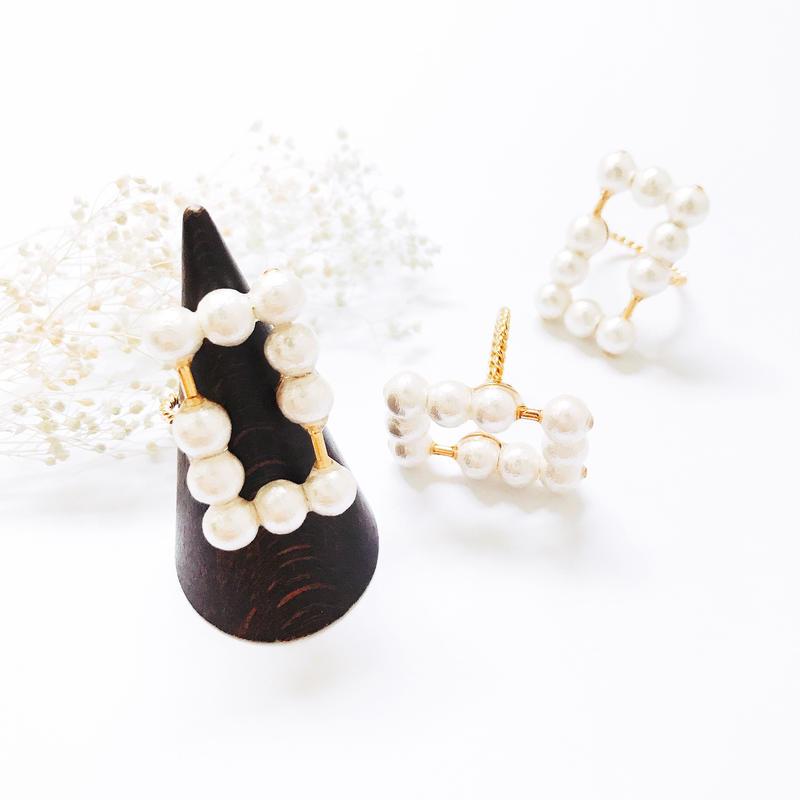 Pearl  Ring - Rectangle × Bar -