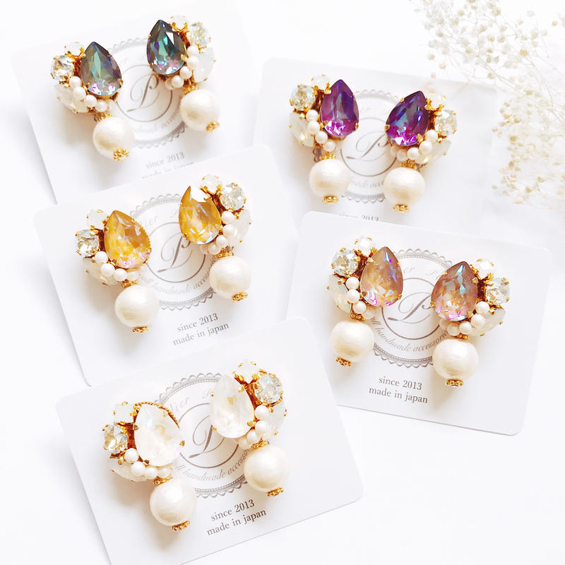 ★2019 A/W  New Color★SWAROVSKI®・Crystals Bijoux Earrings - Drop×Pearl-