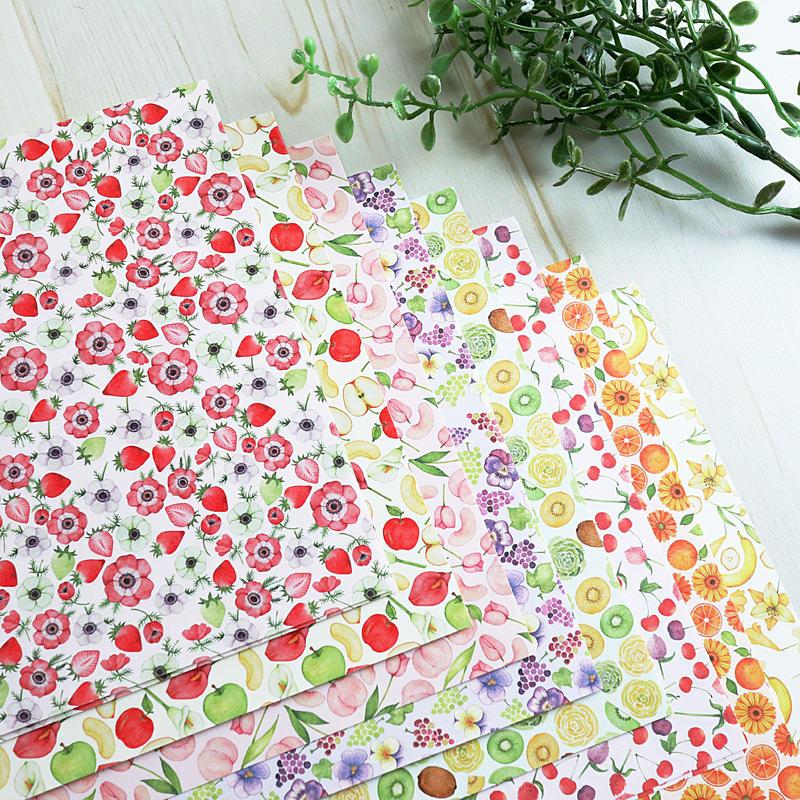 果物とお花のつぎはぎデザインペーパー♡折り紙サイズ